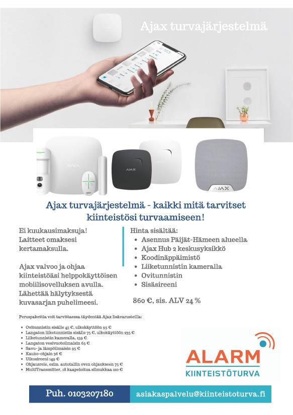Ajax turvajärjestelmä. Laadukas kodin hälytysjärjestelmä turvaa kotisi. Saatavilla mustana ja valkoisena. Tyylikäs kokonaisuus. Käyttö mobiilisovelluksella.
